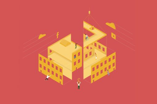 Graphic showing a group of people working together to build a building
